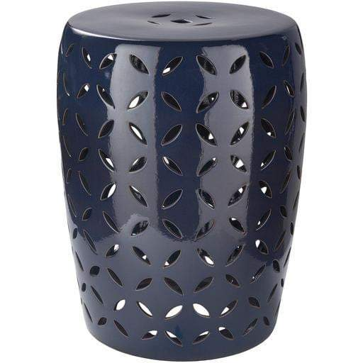 Surya Chantilly Indoor/Outdoor Decor Stool: Navy-Outdoor Stool-Parker Gwen