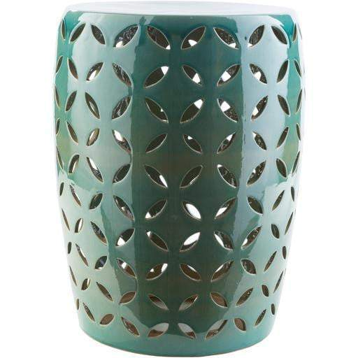 Surya Chantilly Indoor/Outdoor Decor Stool: Teal-Outdoor Stool-Parker Gwen