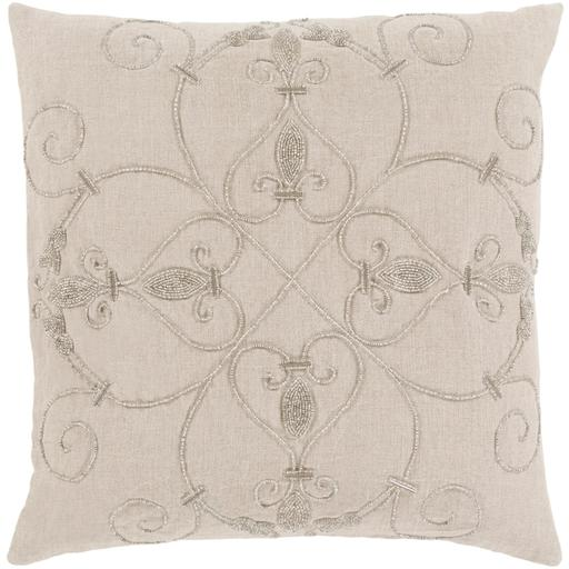 "SURYA PAULINE PILLOW: 20"" X 20"" Beige-Pillow-Parker Gwen"