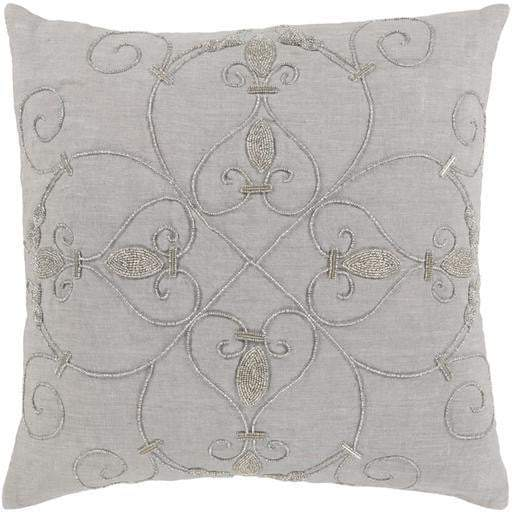 "Surya Pauline Pillow: 20"" x 20"" Grey-Pillow-Parker Gwen"