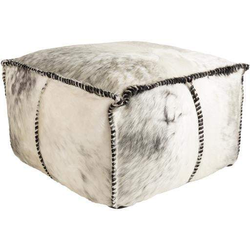 Ranger Leather Hide Pouf (White) - Parker Gwen