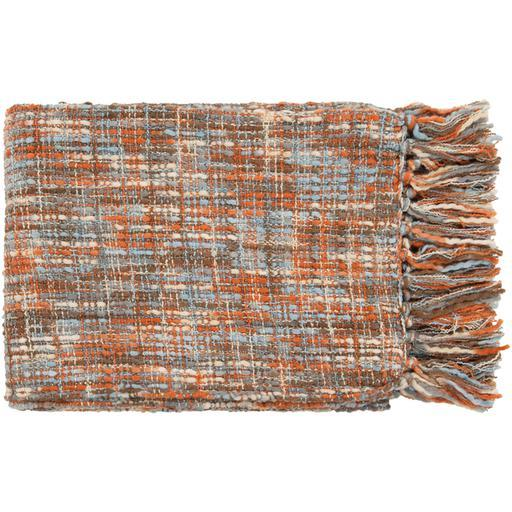 "Tabitha Knit Hand Woven Acrylic Throw Blanket 50"" X 60"" (Blue & Orange) 