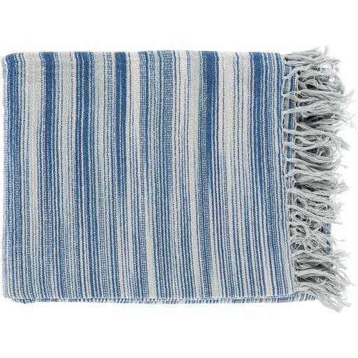 "Tanga Chenille Cotton Striped Throw Blanket 50"" x 60"" (Blue) 