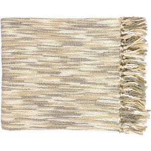 "Teegan Woven Acrylic Throw Blanket 55"" x 78"" (Ivory & Cream) 