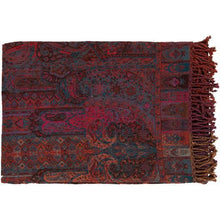 "Tenali Global Wool Large Throw Blanket 55"" x 80"" (Purple, Rust, Saffron)-Throw-Parker Gwen"