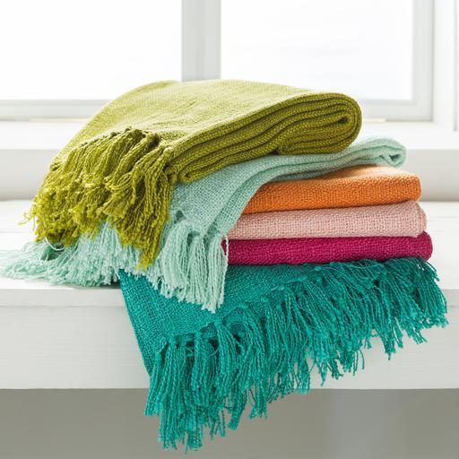 "Tilda Woven Fringe Edge Acrylic Throw Blanket 51"" x 59"" (Lime) 