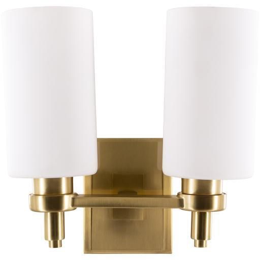 Lorelai Antique Brass Brushed Frosted Glass Wall Sconce