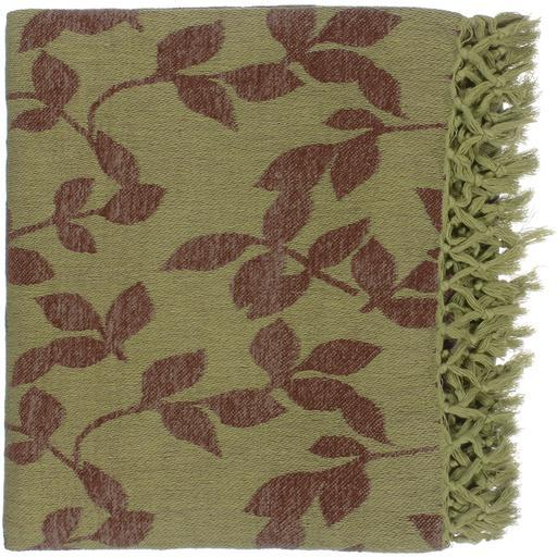 "Timora Leaf Patterned Woven Throw Blanket 50"" x 70"" (Green)"