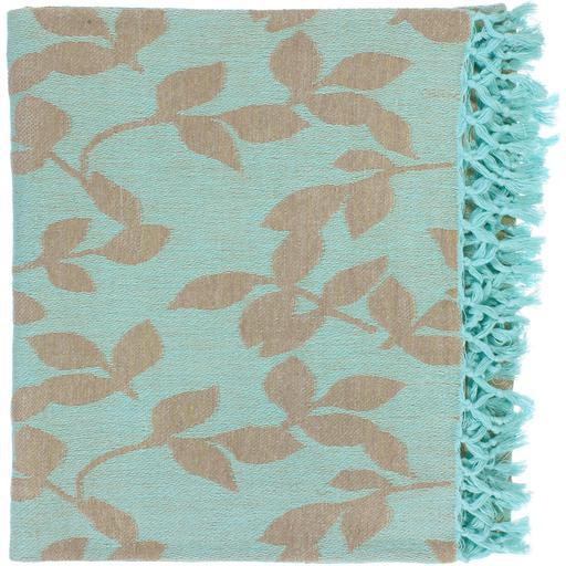 "Timora Leaf Patterned Woven Throw Blanket 50"" x 70"" (Aqua)"