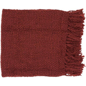 "Tobias Woven Acrylic & Wool Throw Blanket 51"" x 71"" (Brick) 