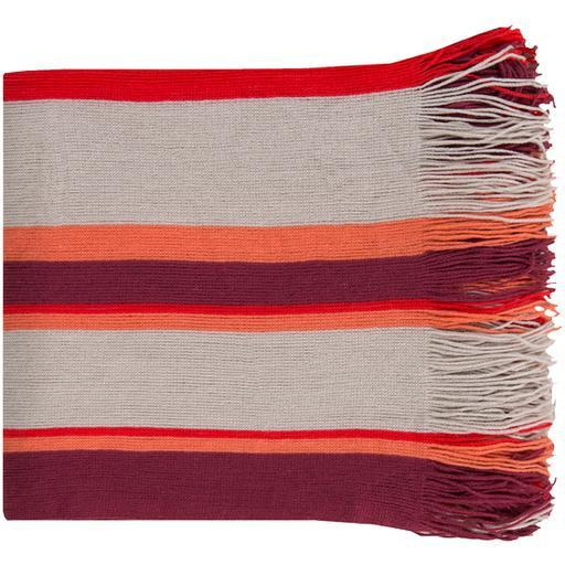"Topanga Woven Striped Throw Blanket 50"" x 60"" (Plum, Coral, Gray) 