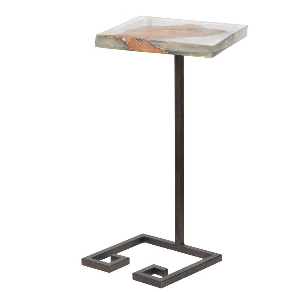 Transparent Resin U0026 Teak Side Table Side Table Parker Gwen