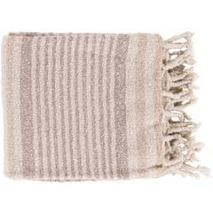 "Treasure Woven Striped Throw Blanket 50"" x 60"" (Ivory, Taupe)-Throw-Parker Gwen"