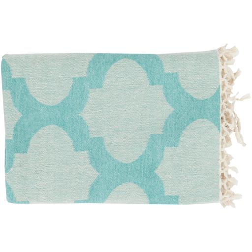"Trellis Quatrefoil Cotton Throw Blanket 50"" x 70"" (Cream & Mint) 