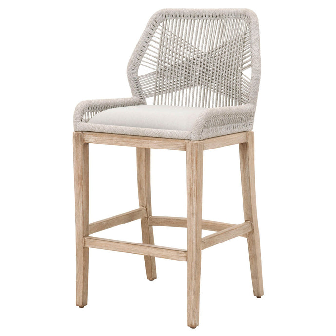 Loom Bar or Counter Stool (Taupe & White Flat Rope) | Stool | parker-gwen