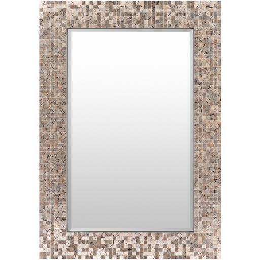 "Whitaker 28"" x 40"" Mother of Pearl Wall Mirror (Grey) 