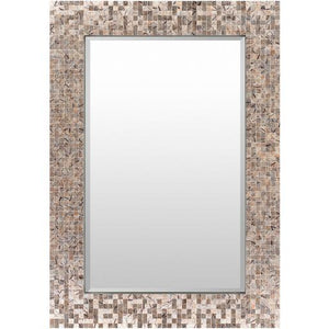 "Whitaker 28"" x 40"" Mother of Pearl Wall Mirror (Grey)"