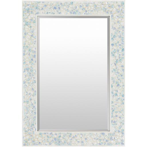"Whitaker 28"" x 40"" Mother of Pearl Wall Mirror (Blue)"