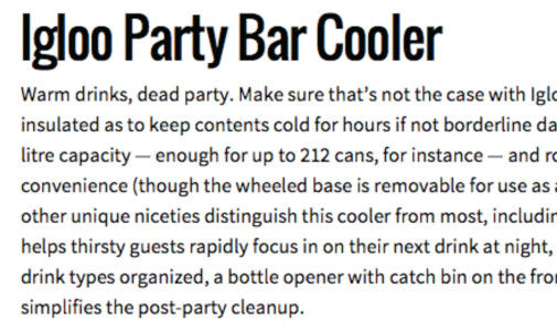 Igloo Party Bar Cooler by Gear Hungry