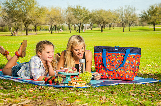 mom and son picnic