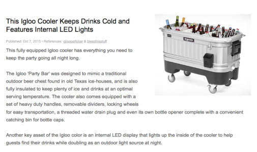 This Igloo Cooler Keeps Drinks cold & Features Internal LED Lights