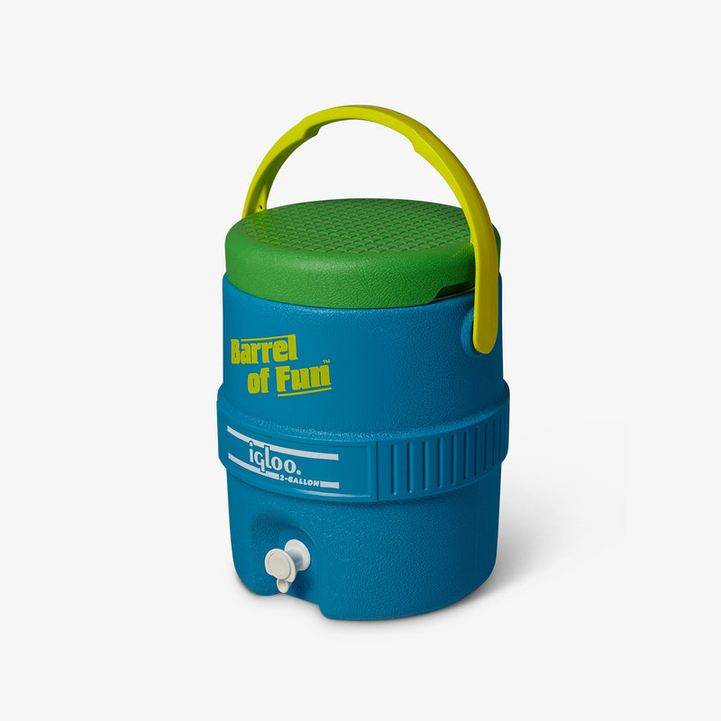 Angle View | Barrel of Fun 2 Gallon Jug::Fiesta Blue
