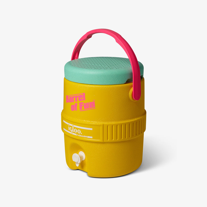 Angle View | Barrel of Fun 2 Gallon Jug::Yellow
