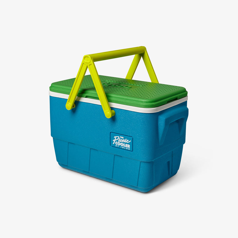 Angle View | Retro Limited Edition Picnic Basket 25 Qt Cooler::Fiesta Blue