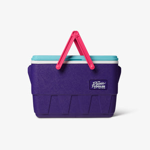 Front View | Retro Limited Edition Picnic Basket 25 Qt Cooler::Purple
