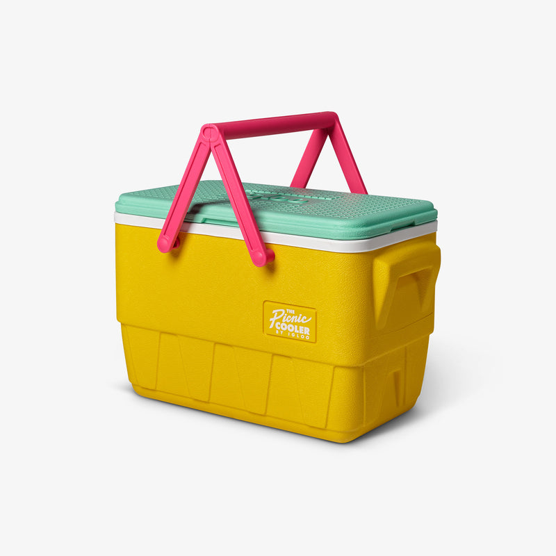 Angle View | Retro Limited Edition Picnic Basket 25 Qt Cooler::Yellow