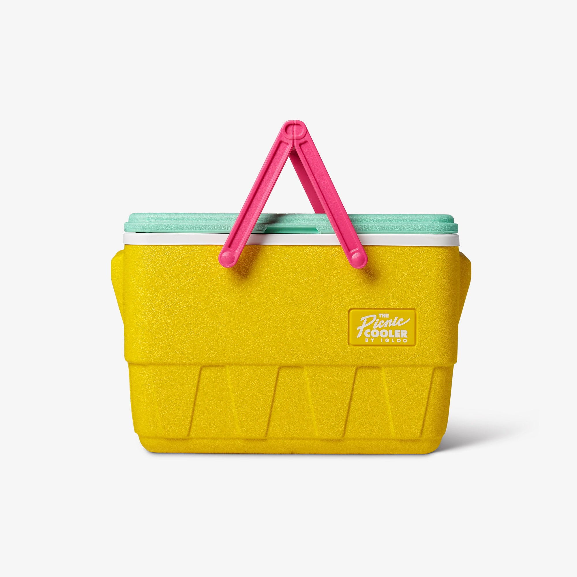 Front View | Retro Limited Edition Picnic Basket 25 Qt Cooler::Yellow