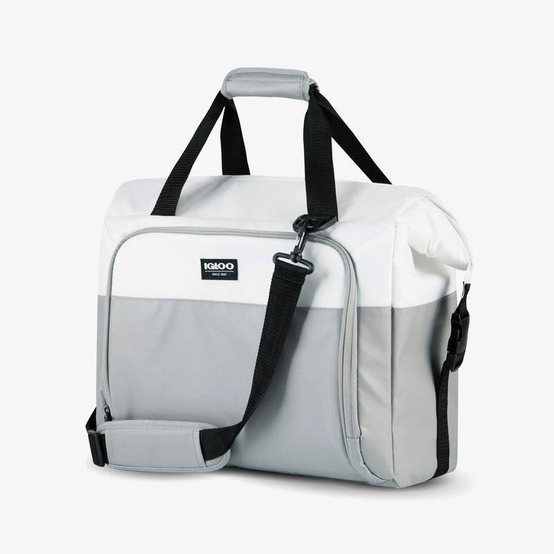 Angle View | Seadrift Snapdown 36-Can Bag::White/Gray