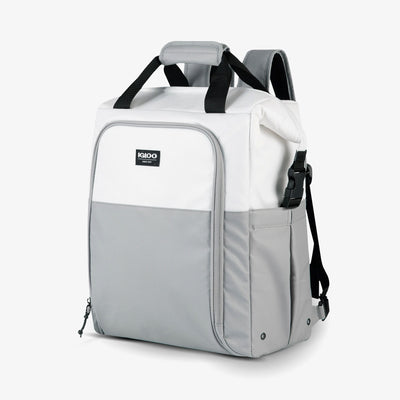 Angle View | Seadrift Switch 30-Can Backpack in White/Gray