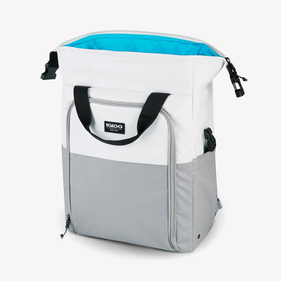 Unzipped View | Seadrift Switch 30-Can Backpack in White/Gray