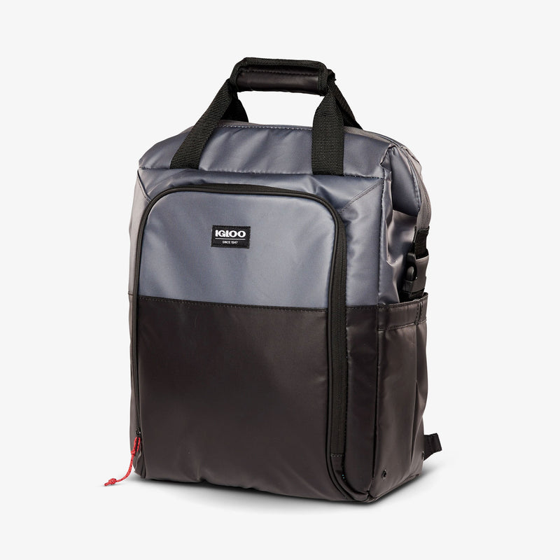 Angle View | Seadrift Switch 30-Can Backpack::Gray/Black