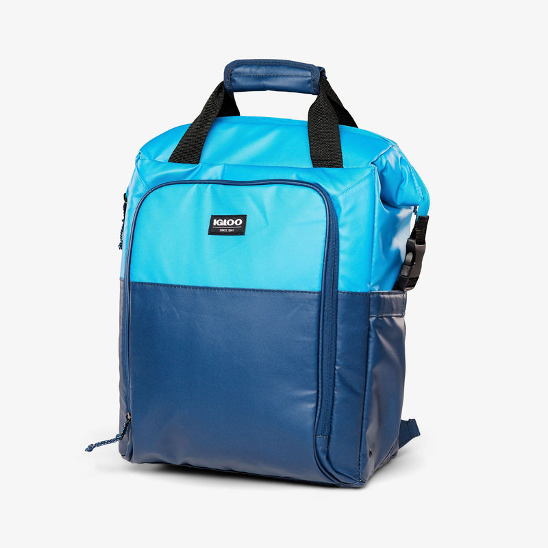 Angle View | Seadrift Switch 30-Can Backpack::Blue/Navy