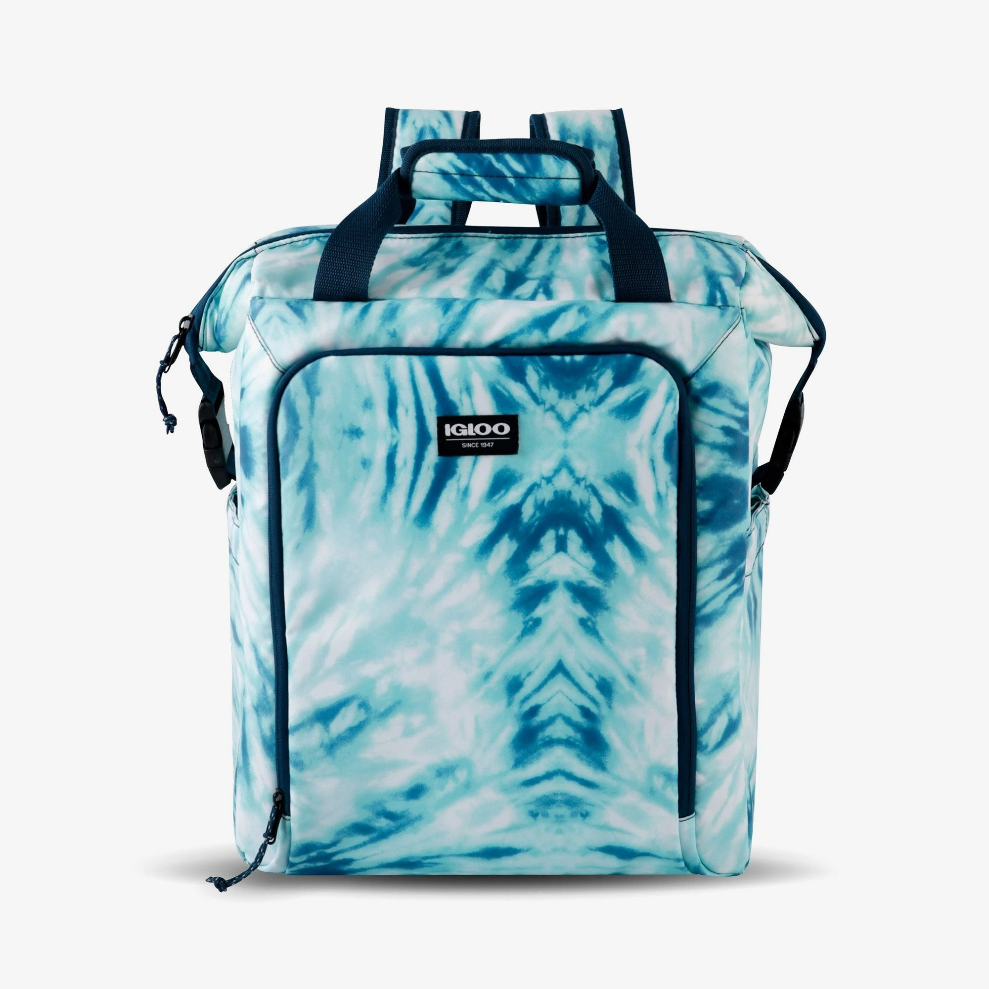 Large View | Seadrift Switch 30-Can Backpack in Blue Tie-Dye