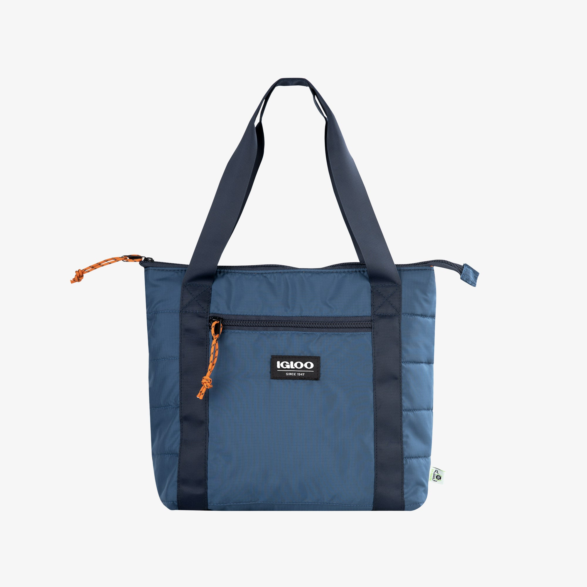 Front View | Packable Puffer 10-Can Cooler Bag::Denim