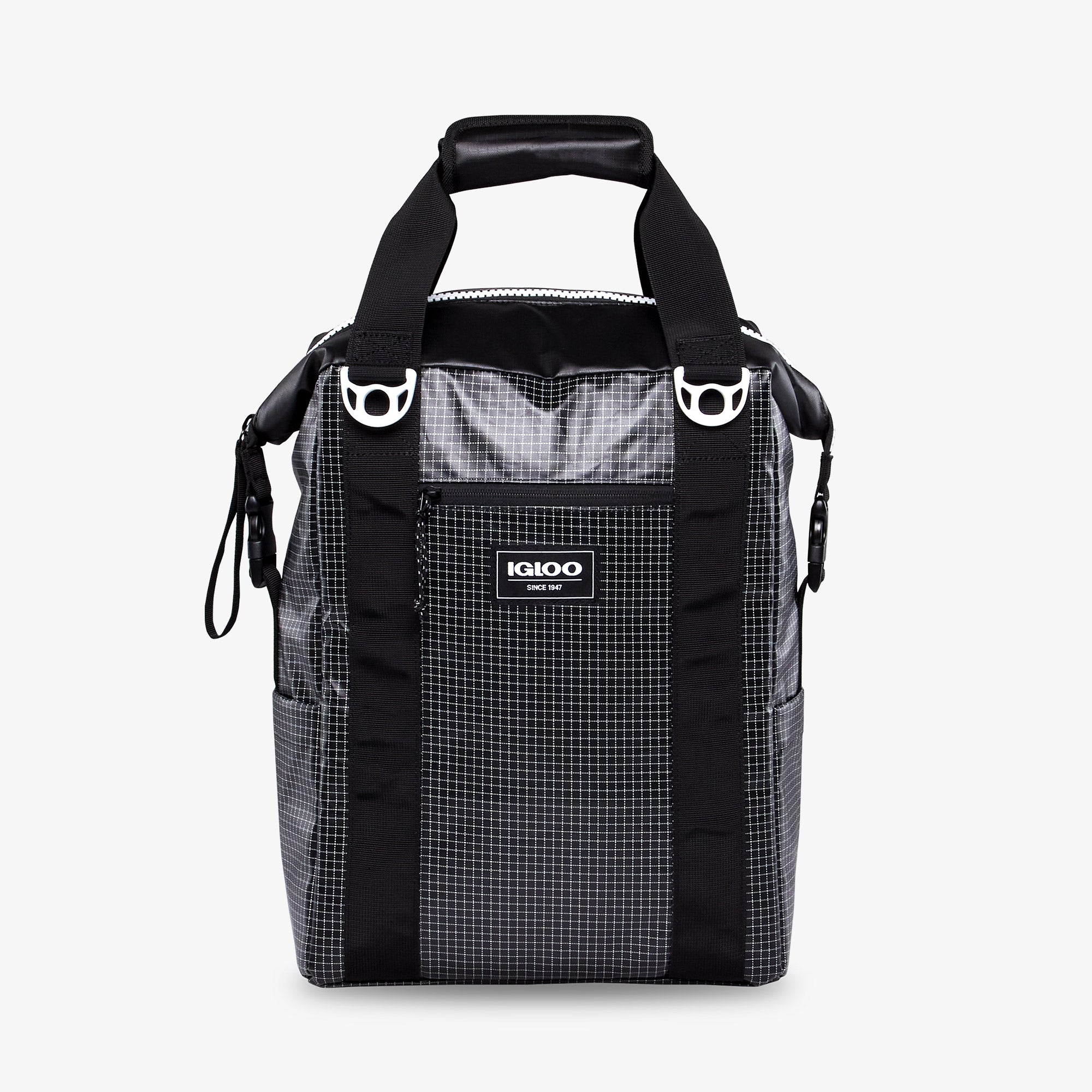 Front View | Outdoor Pro Snapdown 42-Can Backpack::Black/White