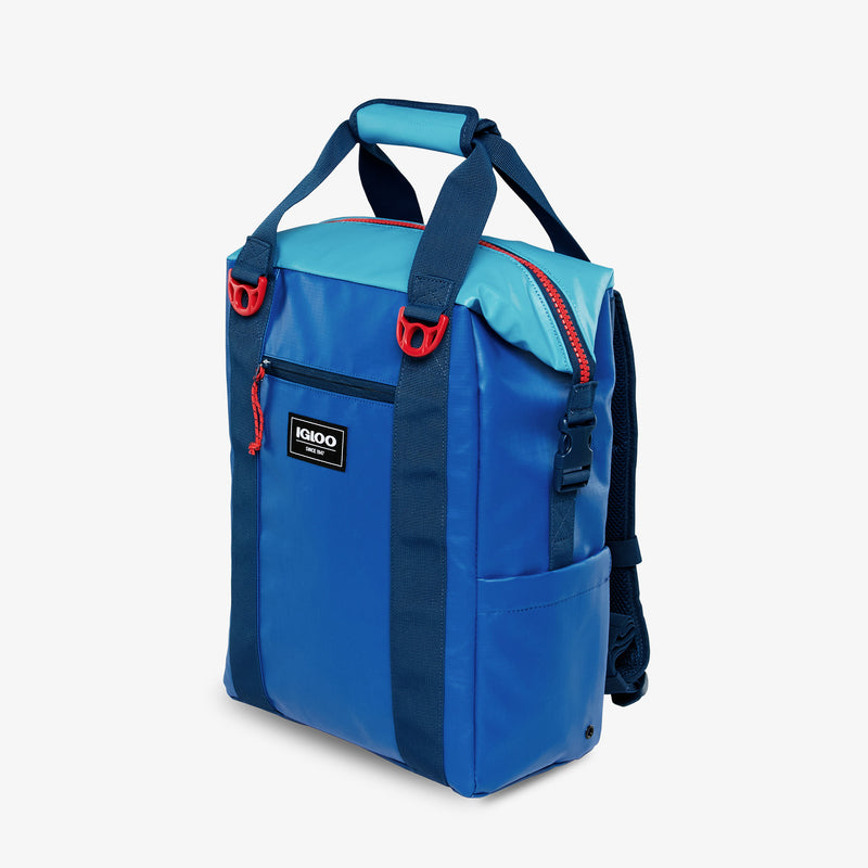 Front View | Outdoor Pro Snapdown 42-Can Backpack::Classic Blue/Hawaiian Ocean