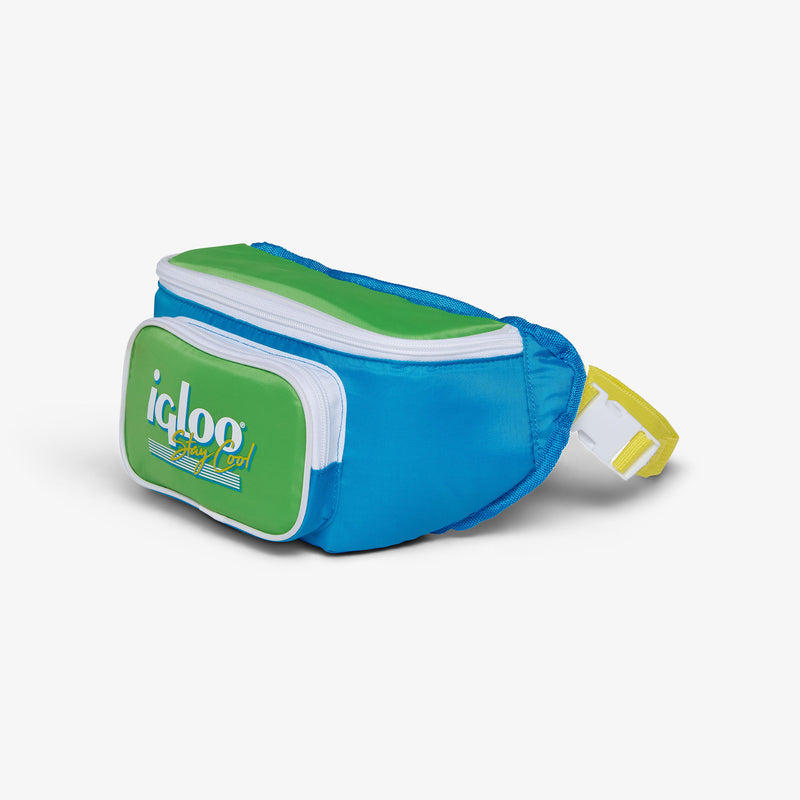 Angle View | Retro Fanny Pack::Fiesta Blue