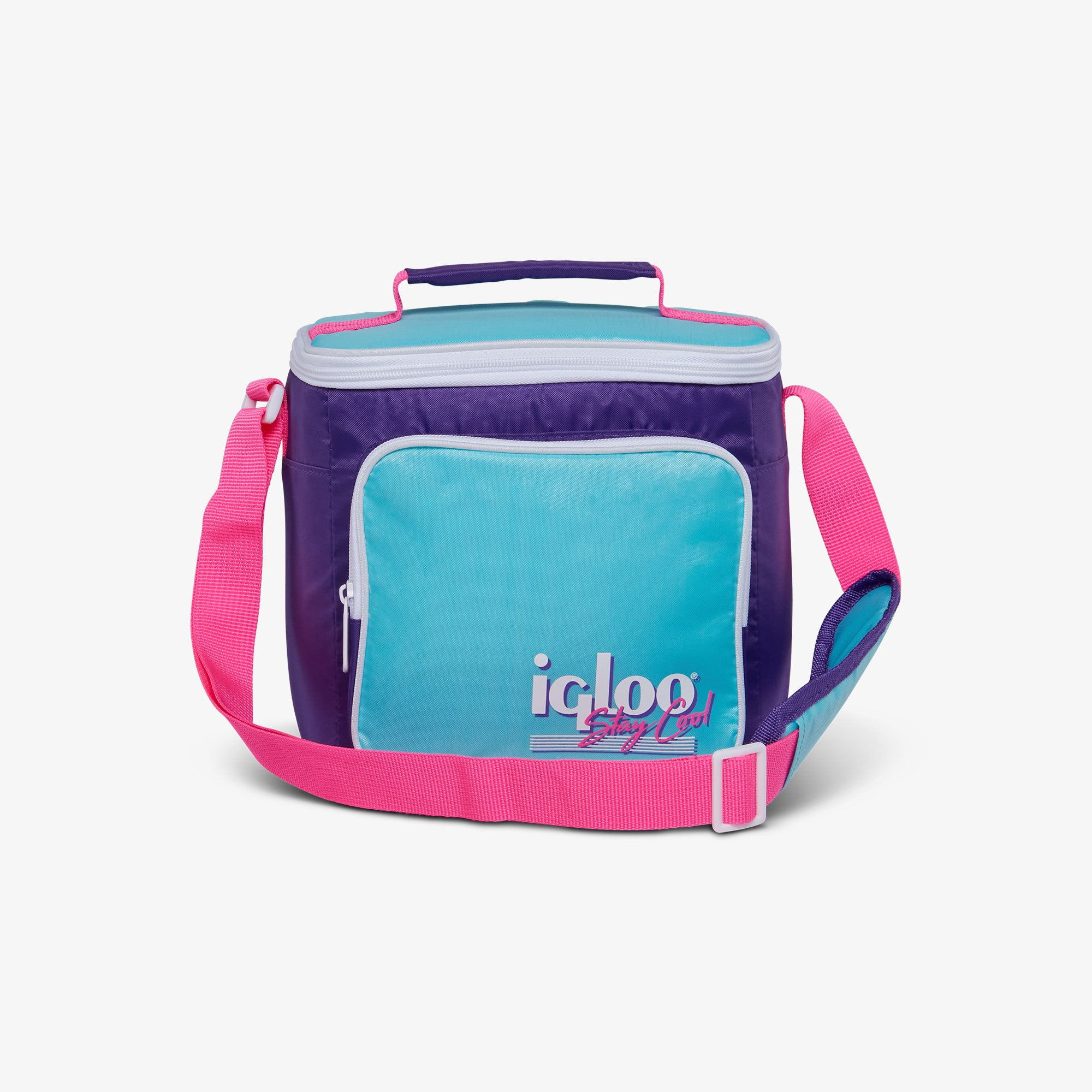 Large View | Retro Square Lunch Bag::Purple