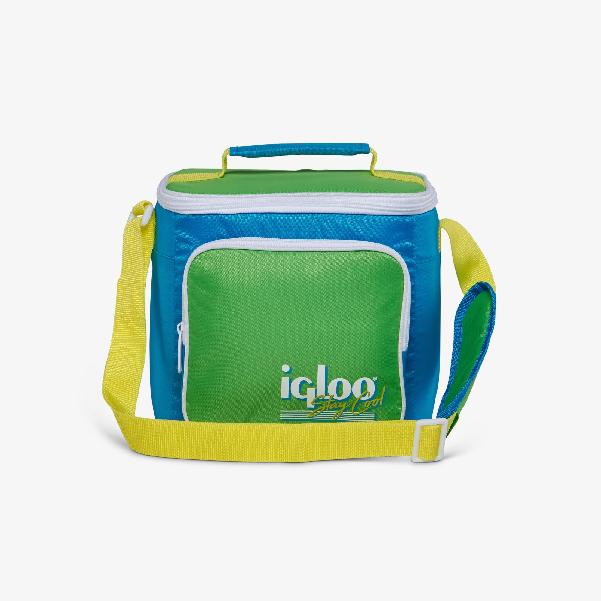 Large View | Retro Square Lunch Bag::Fiesta Blue
