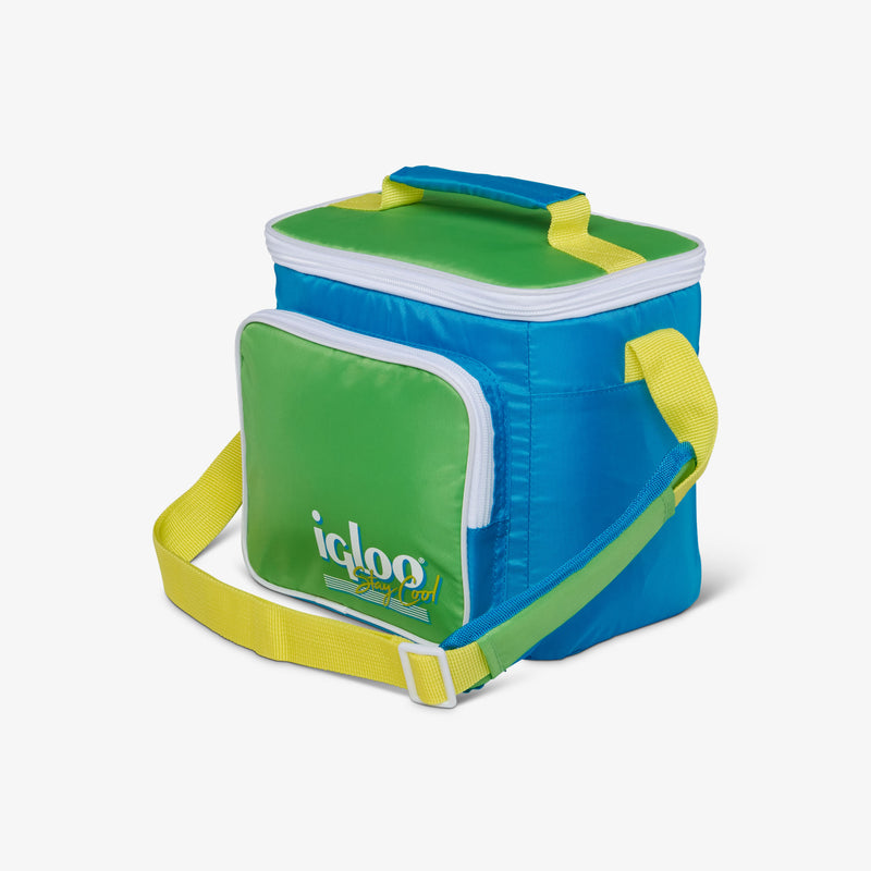 Angle View | Retro Square Lunch Bag::Fiesta Blue