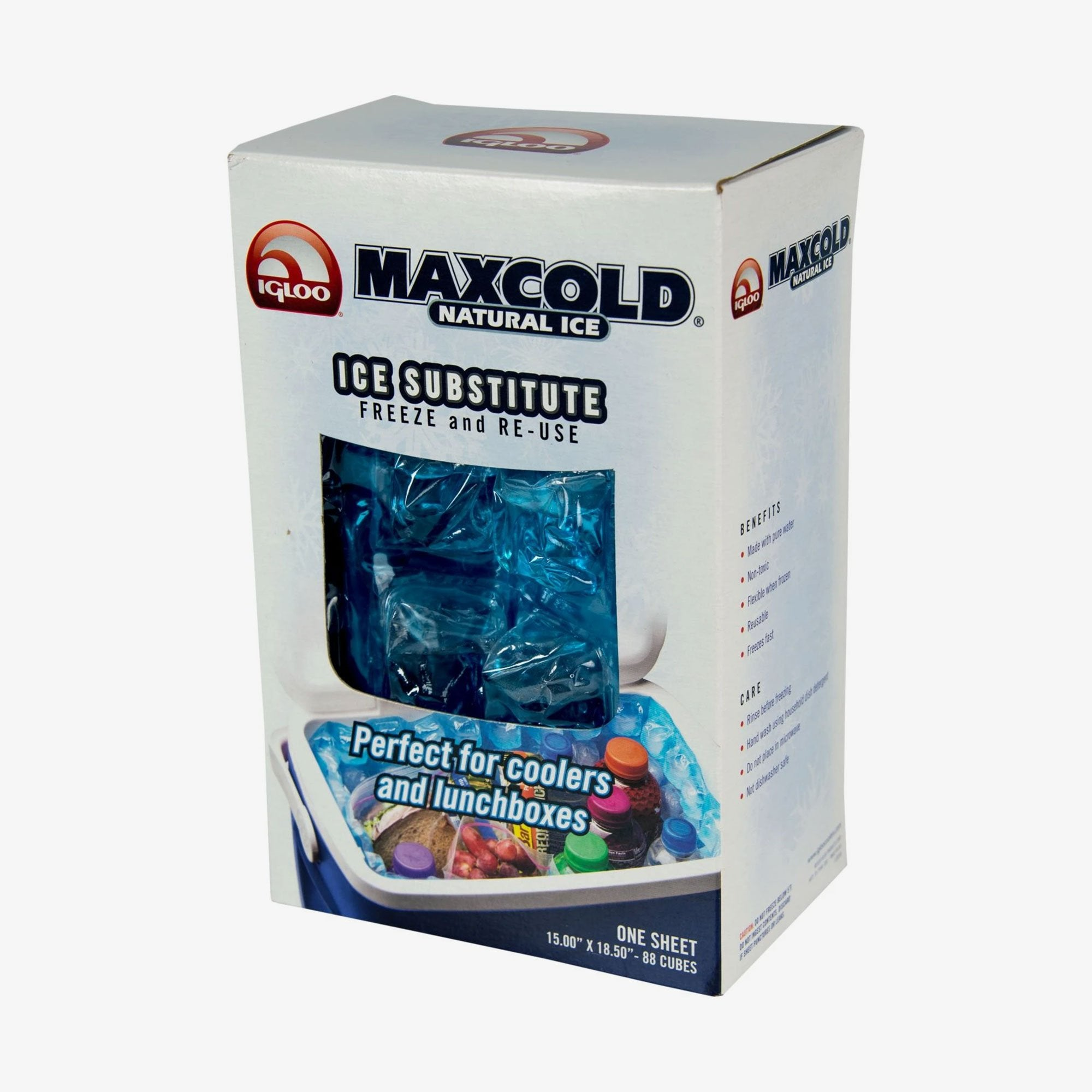 Large View | Maxcold Natural Ice Sheet 88 Cube in Blue at Igloo Ice Substitutes