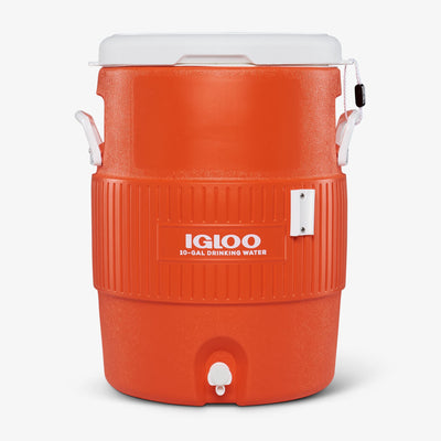 Large View | 10 Gallon Seat Top Water Jug With Cup Dispenser in Orange at Igloo Hard Side Coolers