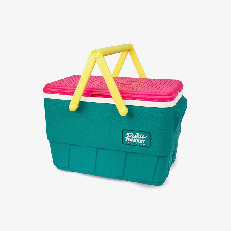 Angle View | Retro Limited Edition Picnic Basket 25 Qt Cooler::Jade