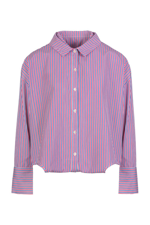 Double Trouble | Shirt | Coral White Navy Stripe