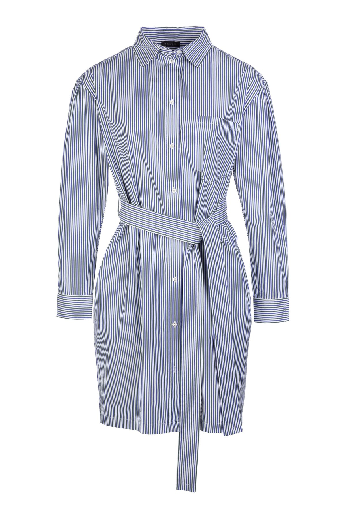 Double Pocket | Dress | Army White Navy Stripe