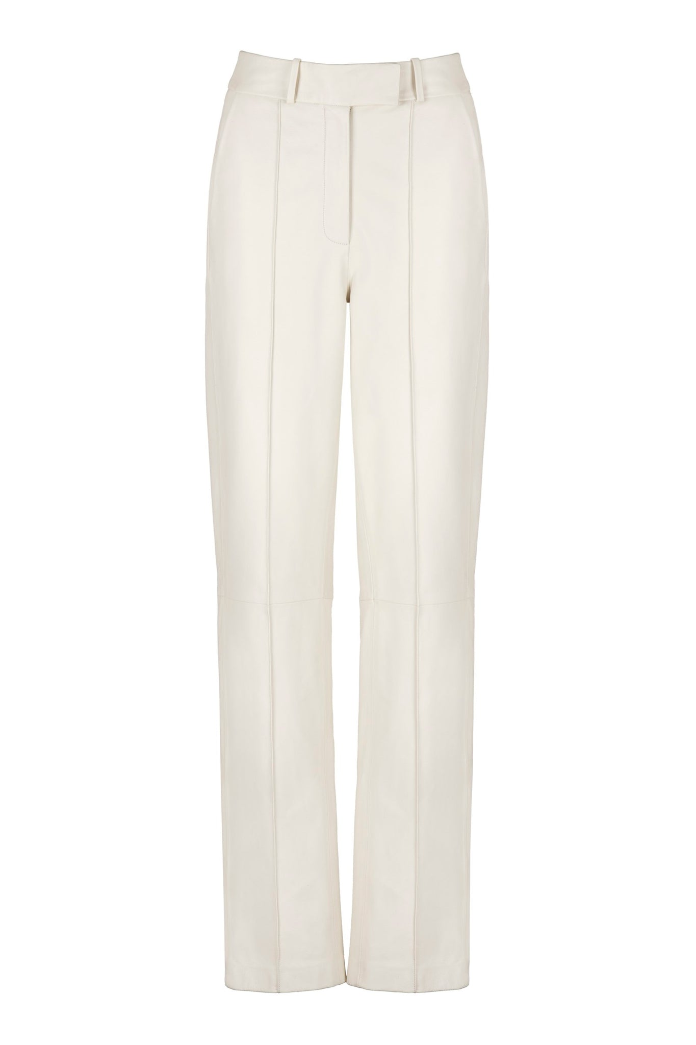 Off-white trouser. High-waisted leather pants. Made from buttery leather in a flattering long straight-leg silhouette.